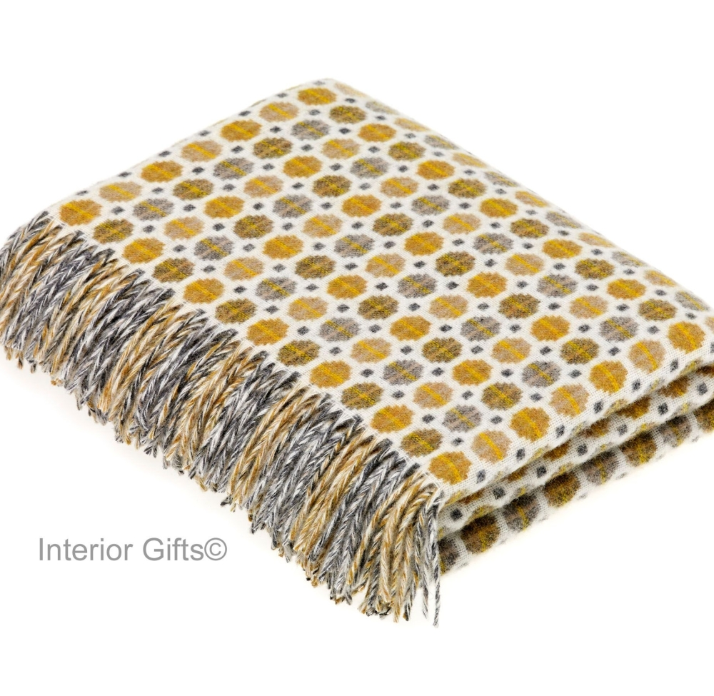 BRONTE by Moon Milan Gold Throw in Supersoft Merino Lambswool