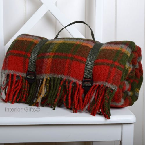 Waterproof Backed Wool Picnic Rug Blanket Deep Red Country Check With Practical Carry Strap
