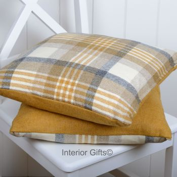 BRONTE by Moon Cushion - Gold Melbourne Check Shetland Wool
