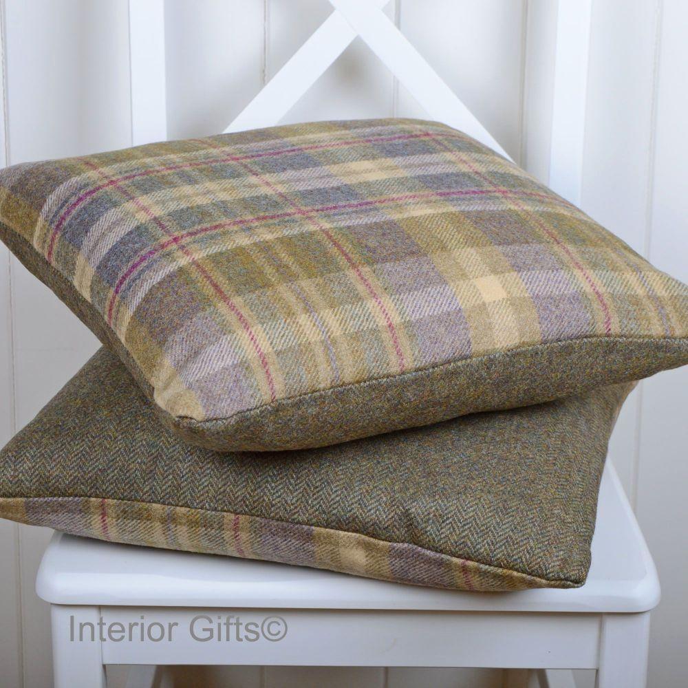 BRONTE by Moon Cushion - Glen Coe Heather & Olive Check Shetland Wool