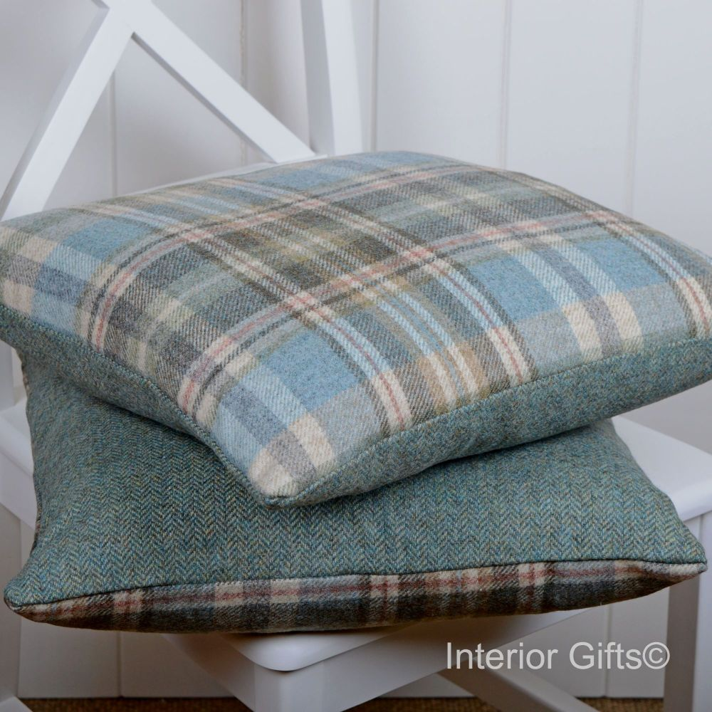 BRONTE by Moon Cushion - Glen Coe Aqua Check Shetland Wool