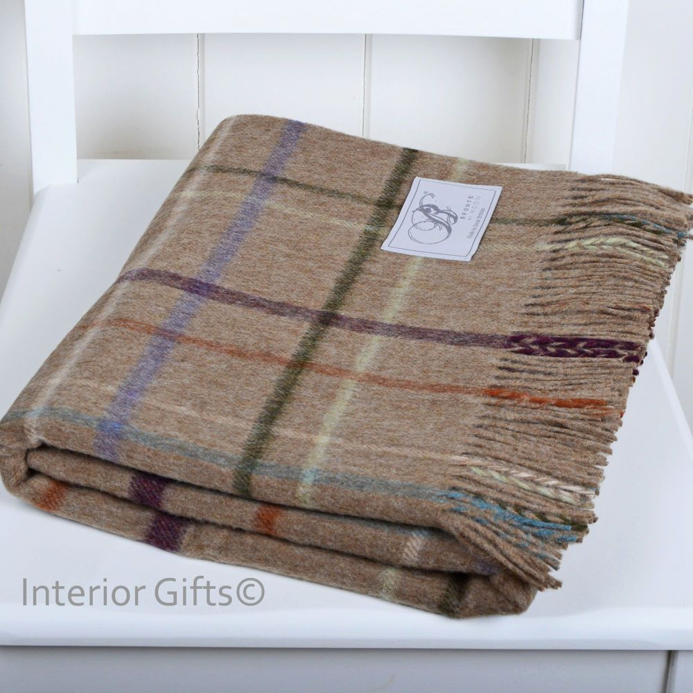BRONTE by Moon Dark Beige Multi Check Windowpane Throw in supersoft Merino