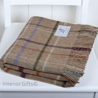 BRONTE by Moon Dark Beige Multi Check Windowpane Throw in supersoft Merino Lambswool