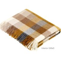 BRONTE by Moon Harlequin Gold & Beige Throw in supersoft Merino Lambswool