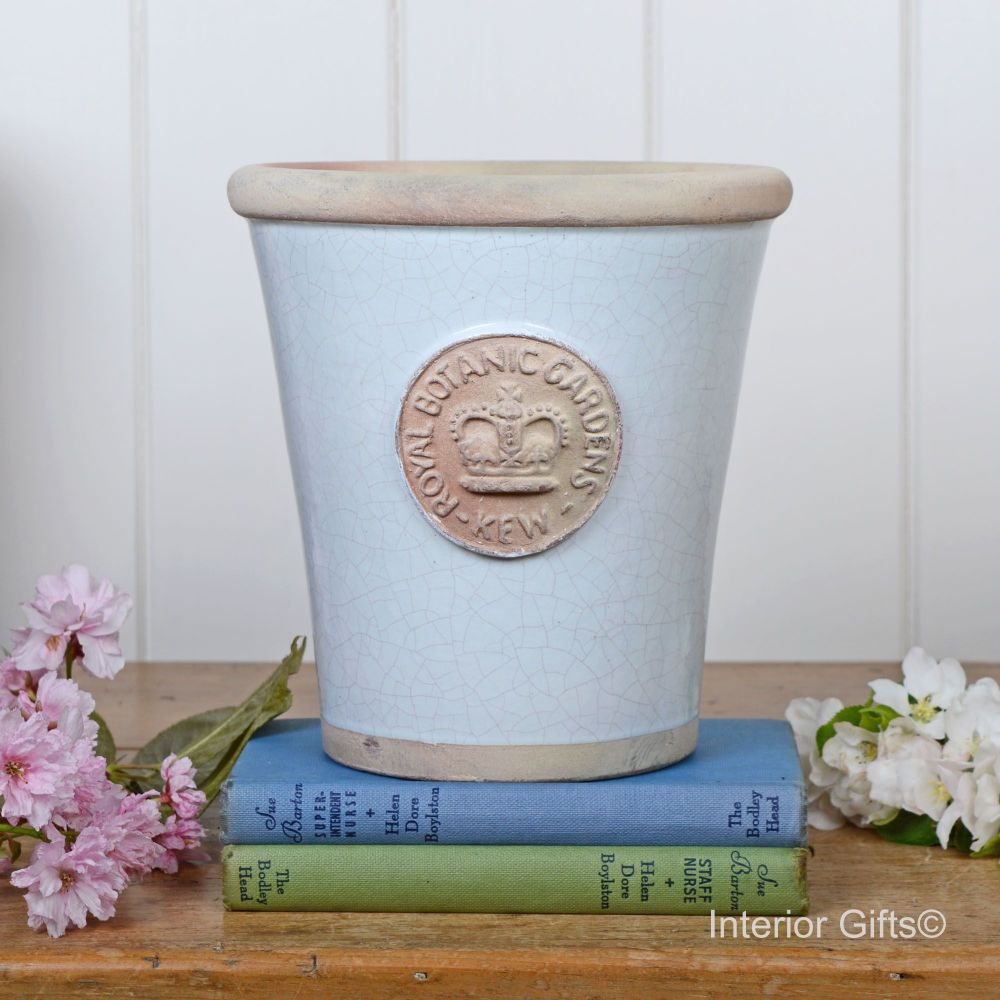 Kew Long Tom Pot in Duck Egg Blue - Royal Botanic Gardens Plant Pot - Mediu