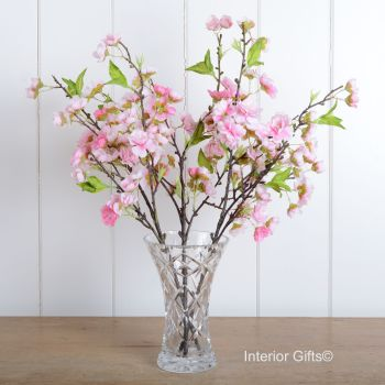 Faux Silk Cherry Blossom Spray in Medium Pink - Three Stems 48 cm