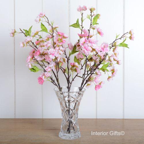 Faux Silk Cherry Blossom Spray in Medium Pink - Three Stems 48 cm
