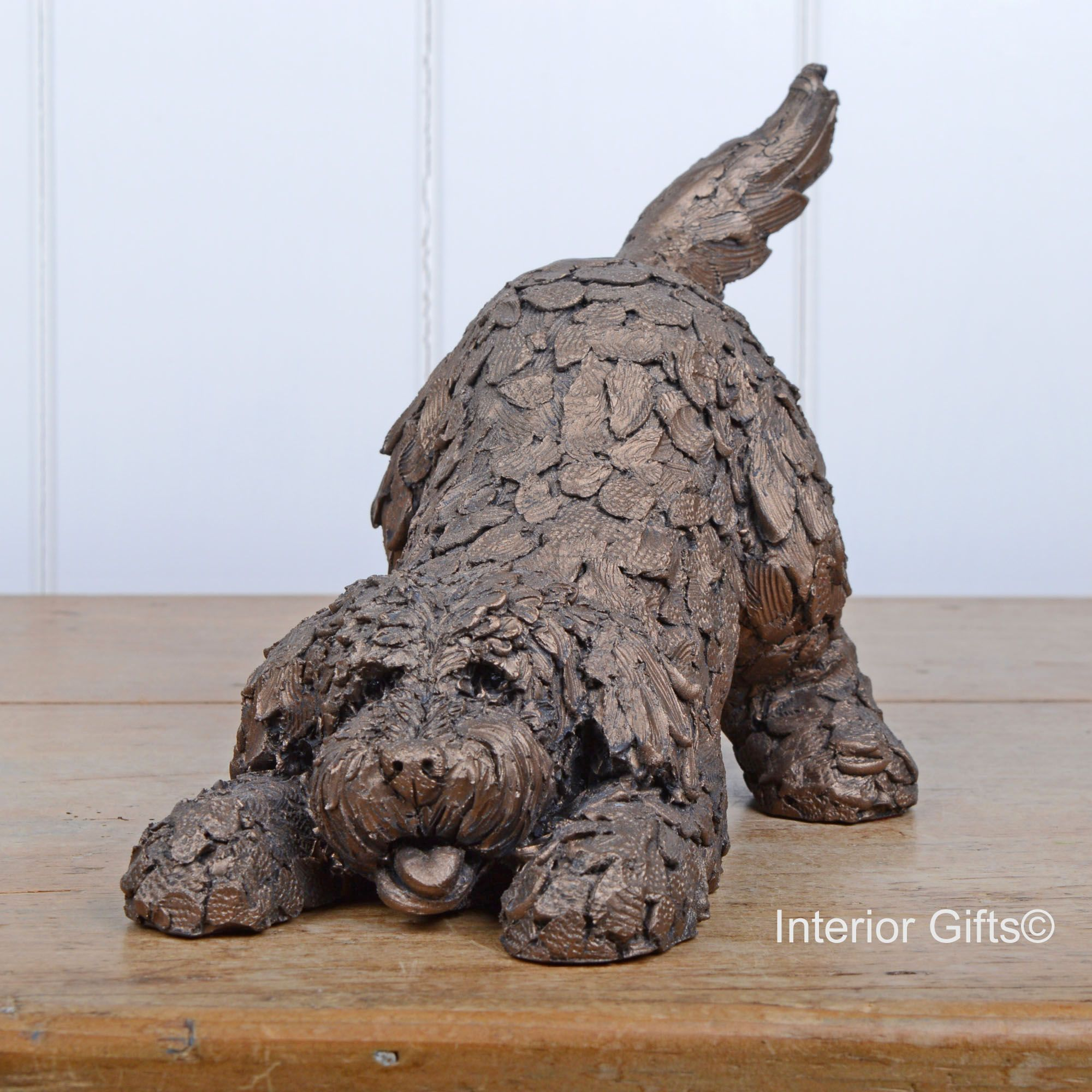 Cockapoo Playing Frith Bronze Sculpture