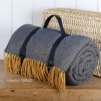 WATERPROOF Backed Wool Picnic Rug / Blanket in Herringbone Navy & Lemon with Carry Strap