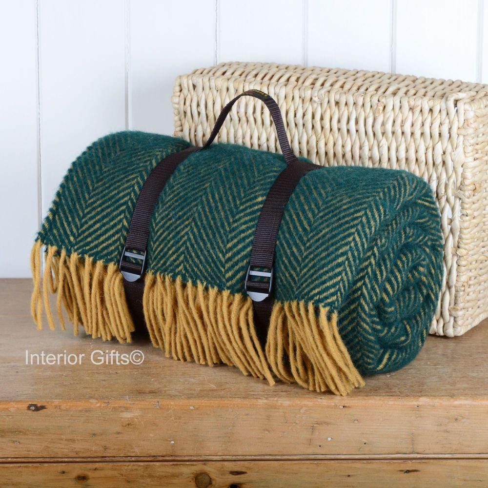WATERPROOF Backed Wool Picnic Rug / Blanket in Classic Emerald & Lemon Herr