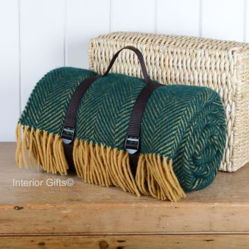 WATERPROOF Backed Wool Picnic Rug / Blanket in Herringbone Emerald & Lemon with Carry Strap