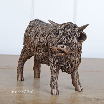 HIGHLAND BULL Standing (Young) Frith Bronze Sculpture by Veronica Ballan