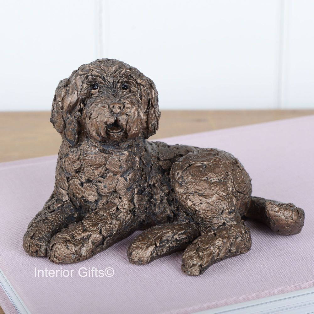 Frith Cold Cast Bronze Dog Sculptures KOKO Labradoodle Sitting AT039