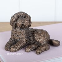 KOKO LABRADOODLE Lying Frith Bronze Sculpture by Adrian Tinsley