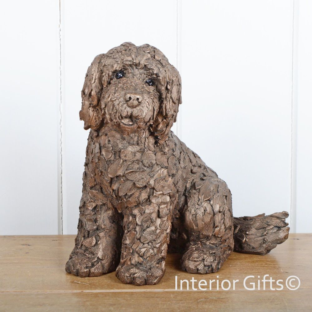 LUCY COCKAPOO Sitting Frith Bronze Sculpture by Adrian Tinsley