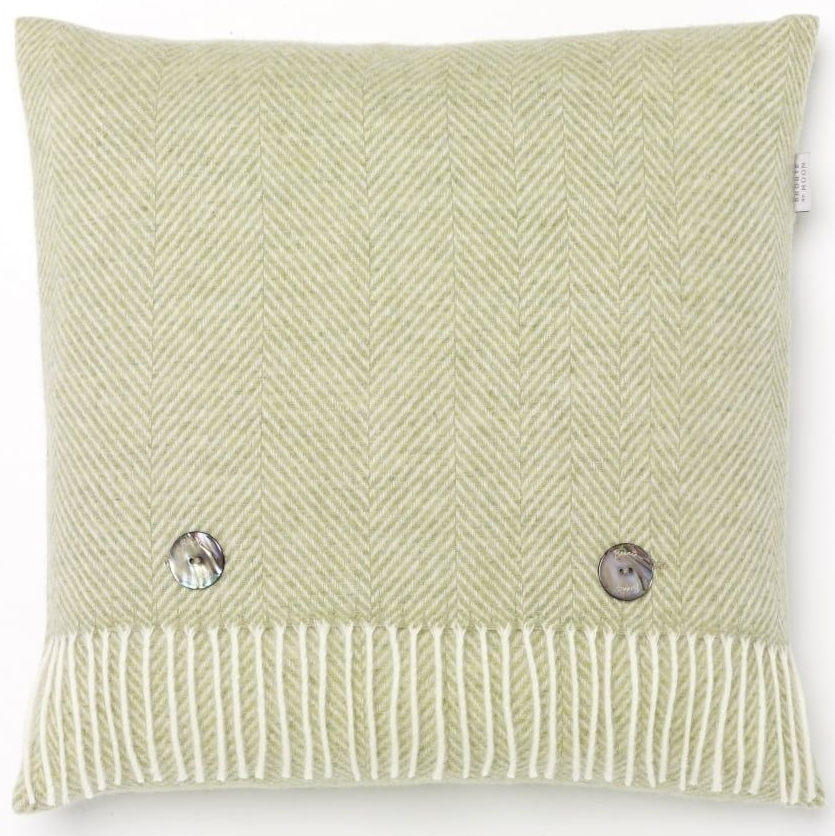BRONTE by Moon Cushion - Light Green Herringbone Lambswool