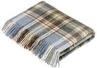 BRONTE by Moon Glen Coe Aqua Check Throw Pure New Shetland Wool