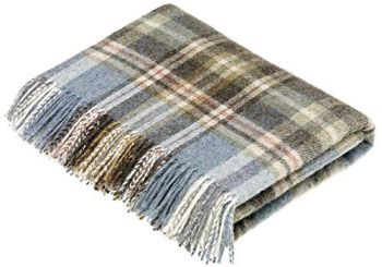 BRONTE by Moon Glen Coe Aqua Check Throw Pure New Shetland Wool