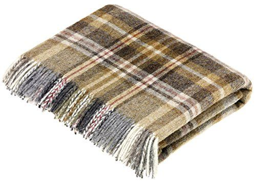 BRONTE by Moon Glen Coe Mustard Check Throw Pure New Shetland Wool