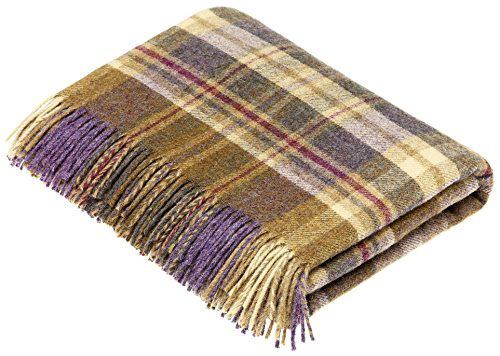 BRONTE by Moon Glen Coe Heather & Olive Check Throw Pure New Shetland Wool