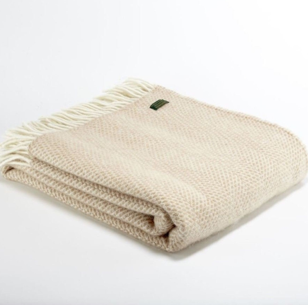 Tweedmill Beige Oatmeal & Cream Honeycomb Weave Pure New Wool Throw Blanket