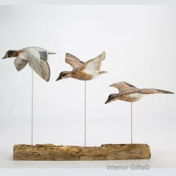 Archipelago 'Teal Block' Three Teal Ducks in Flight Wood Carving