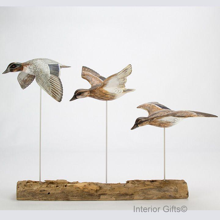 Archipelago 'Teal Block' Three Teal Birds Wood Carving