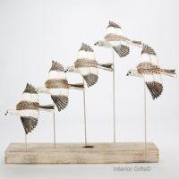 Archipelago 'Snow Bunting Flock' Five Snow Bunting Birds Wood Carving