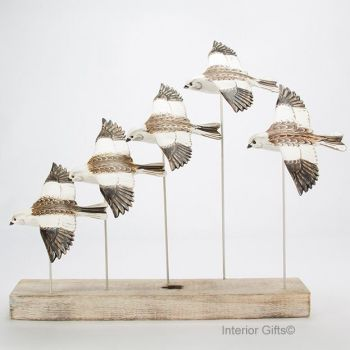 Archipelago 'Snow Bunting Flock' Five Snow Bunting Birds Wood Carving