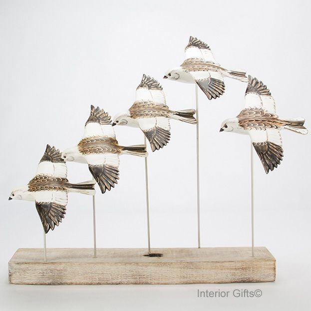 Archipelago 'Snow Bunting Flock' Six Snow Bunting Birds Wood Carving