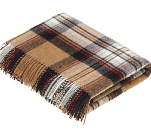BRONTE by Moon Classic Camel Stewart Tartan Check Throw in Supersoft Merino