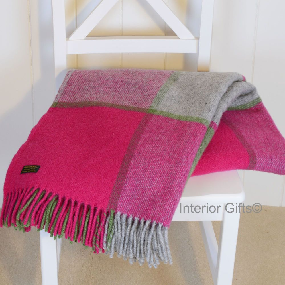 Tweedmill Multi Check Pink & Grey Knee Rug or Small Blanket Pure New Wool