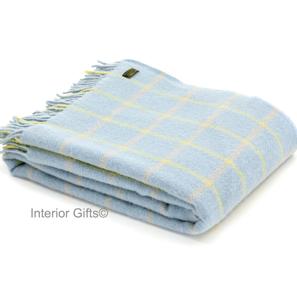 Tweedmill Duck Egg Blue Classic Check Windowpane Pure New Wool Throw Blanke