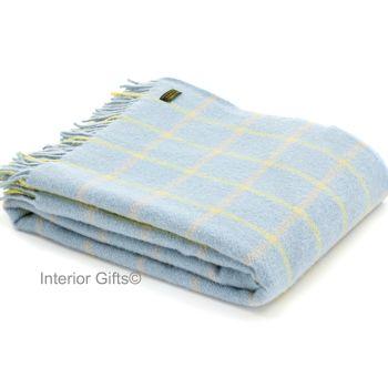 Tweedmill Duck Egg Blue Classic Check Windowpane Pure New Wool Throw Blanket