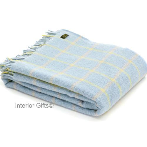 Tweedmill Duck Egg Blue Classic Check Windowpane Pure New Wool Throw Blanke