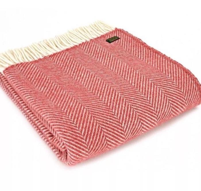 Tweedmill Cranberry Red & Cream Herringbone Pure New Wool Throw Blanket