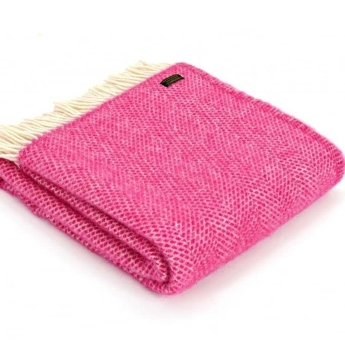 Tweedmill Cerise Pink & Cream Honeycomb Weave Pure New Wool Throw Blanket