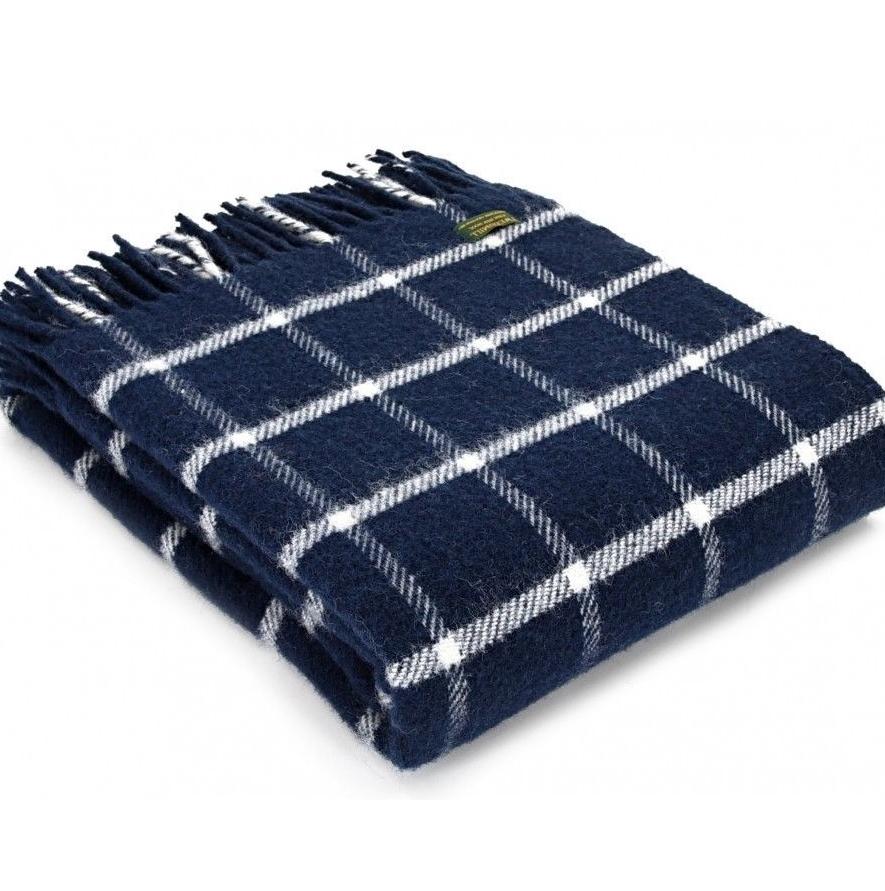 Tweedmill Navy & Chalk Classic Check Windowpane Pure New Wool Throw Blanket