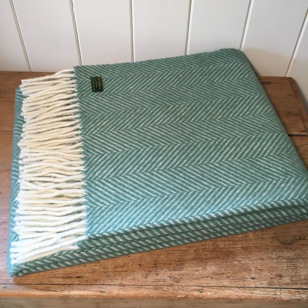 Tweedmill Aqua Green Herringbone Knee Rug or Small Blanket Throw Pure New W