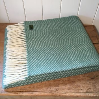 Tweedmill Aqua Green Herringbone Knee Rug or Small Blanket Throw Pure New Wool