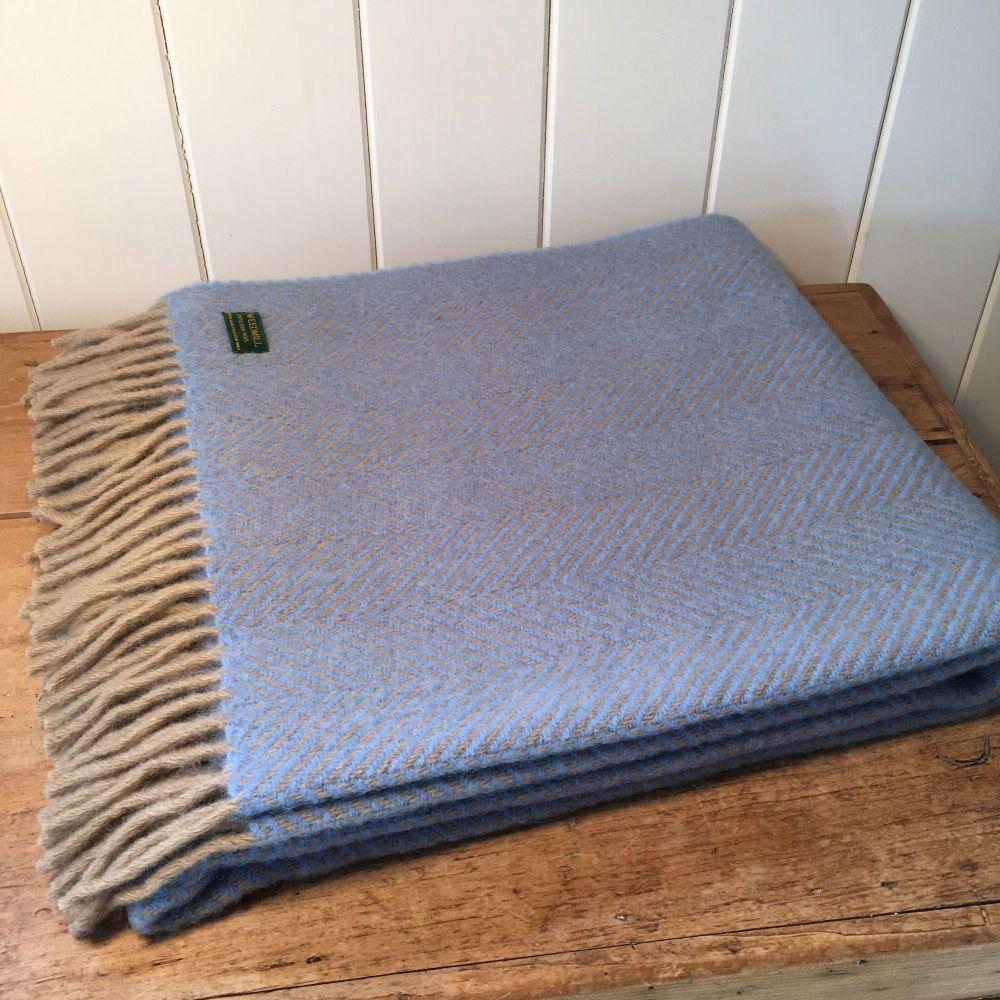 Tweedmill Sea Blue & Wheat Knee Rug or Small Blanket Throw Pure New Wool