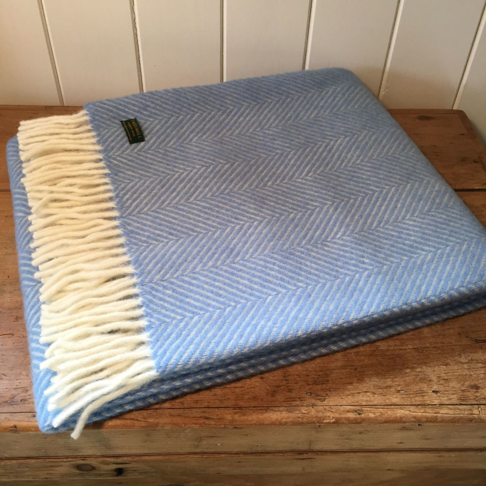 Tweedmill Sky Blue Herringbone Knee Rug or Small Blanket Throw Pure New Woo
