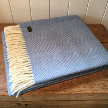Tweedmill Sky Blue Herringbone Knee Rug or Small Blanket Throw Pure New Wool