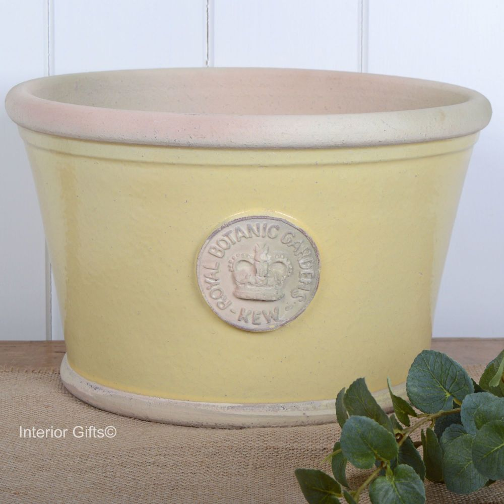 Kew Low Planter Pot Citron Yellow - Royal Botanic Gardens Plant Pot - Large
