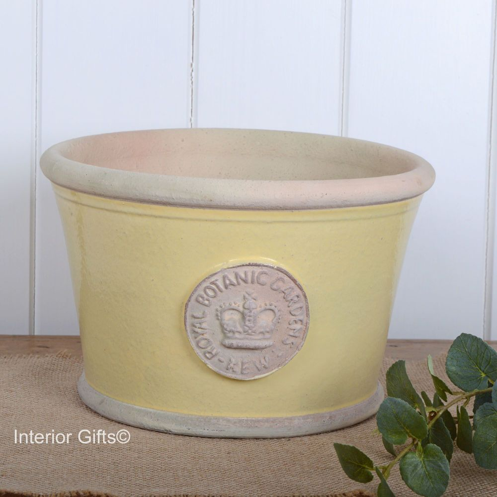 Kew Low Planter Pot Citron Yellow - Royal Botanic Gardens Plant Pot - Mediu