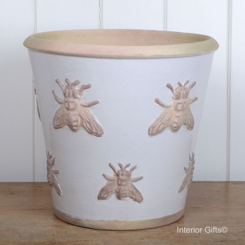 Rustic Bee Embossed Plant Pot Handmade in Antique/Chalk - Large