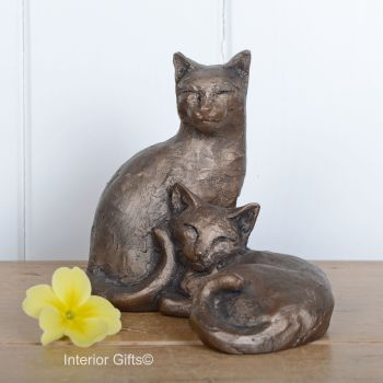 Best Friends Toby & Poppy Cat Frith Bronze Sculpture by Paul Jenkins