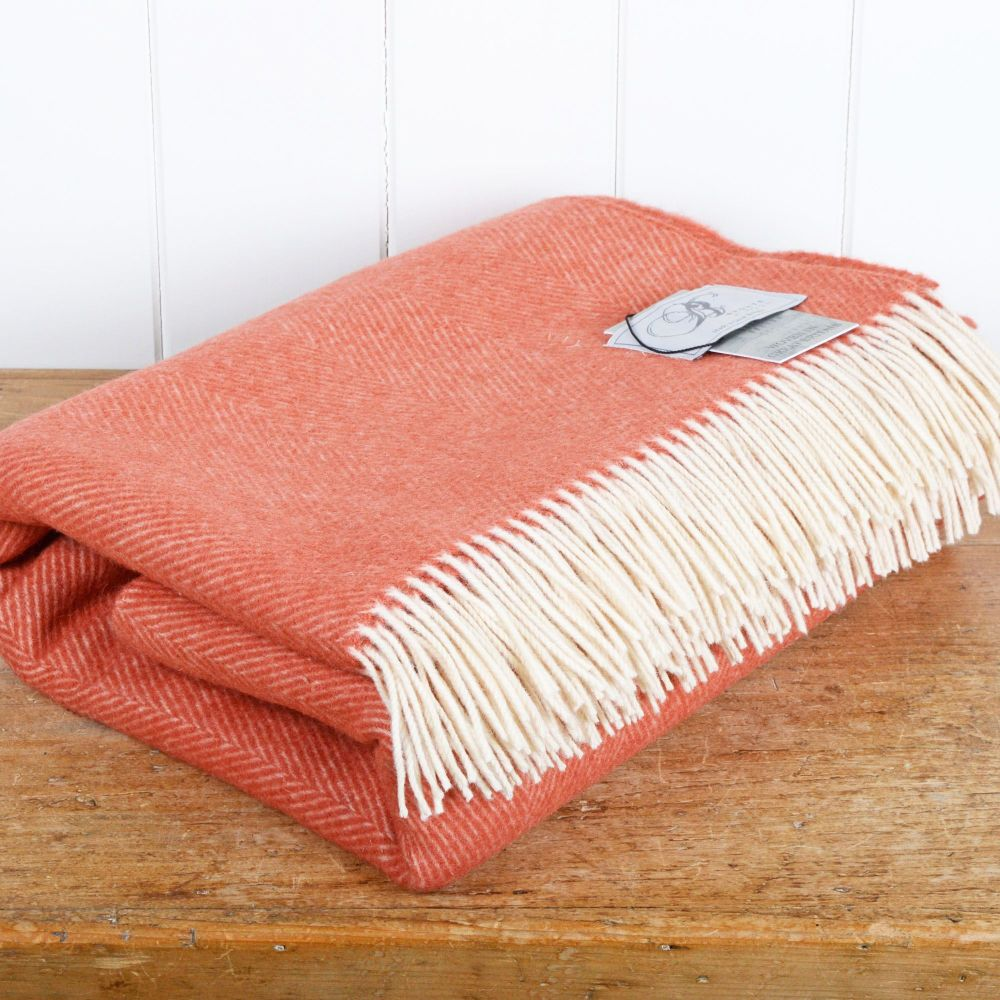 BRONTE by Moon Coral Herringbone Throw in 100% Pure New Wool
