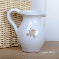 Rustic Bee Embossed Jug Handmade in Antique/Chalk