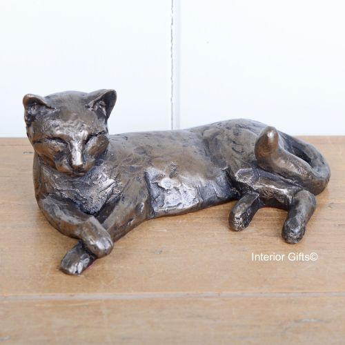 Tinkerbelle Cat Lying Frith Bronze Sculpture by Paul Jenkins